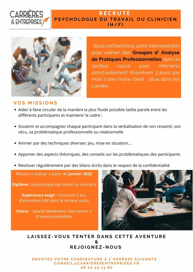 Read more about the article Recrutement Psychologue Clinicien ou du travail